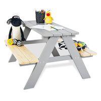 Pinolino bērnu piknika galds ar soliņiem Nicki für 4, pelēks koks
