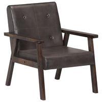 vidaXL atpūtas krēsls, pelēka dabīgā āda