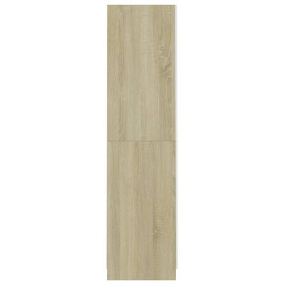 vidaXL skapis, balta, ozolkoka krāsa, 90x52x200 cm, skaidu plāksne