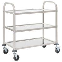 vidaXL virtuves ratiņi, 3 plaukti, 95x45x83,5 cm, nerūsējošs tērauds