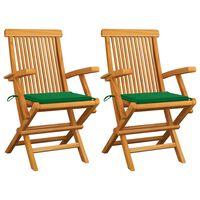 vidaXL dārza krēsli, zaļi matrači, 2 gab., masīvs tīkkoks