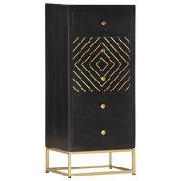 vidaXL Drawer Cabinet Black and Gold 45x30x105 cm Solid Mango Wood