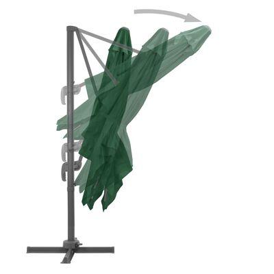 vidaXL dārza saulessargs ar pamatni, pārnēsājams, zaļš