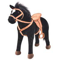 vidaXL rotaļu zirgs, melns plīšs