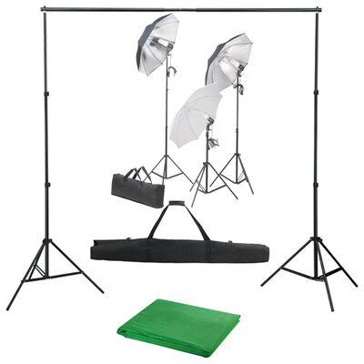 vidaXL fotostudijas komplekts, gaismas un fons