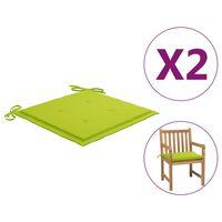 vidaXL dārza krēslu matrači, 2 gab., 50x50x4 cm, spilgti zaļš audums