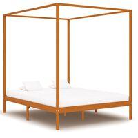 vidaXL gultas rāmis ar nojumi, medus brūns, priedes masīvkoks