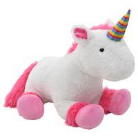 vidaXL rotaļu vienradzis, rozā un balts plīšs