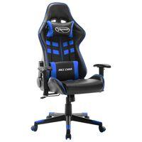 vidaXL datorspēļu krēsls, melna un zila mākslīgā āda