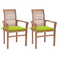 vidaXL virtuves krēsli, 2 gab., spilgti zaļi matrači, masīvs tīkkoks