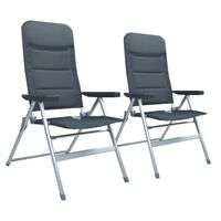 vidaXL atgāžami dārza krēsli, 2 gab., alumīnijs, pelēki