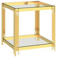 vidaXL kafijas galdiņš, zeltains, 55x55x55 cm, tērauds, stikls