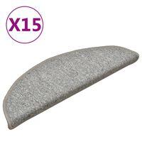 vidaXL kāpņu paklāji, 15 gab., 56x17x3 cm, gaiši pelēki