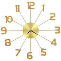 vidaXL sienas pulkstenis, 50 cm, metāls, zelta krāsa