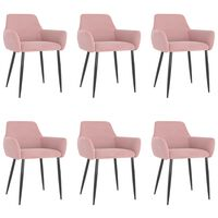 vidaXL virtuves krēsli, 6 gab., rozā samts