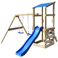 vidaXL rotaļu laukums ar kāpnēm, slidkalniņu un šūpolēm, koks