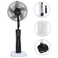 vidaXL ūdeni izsmidzinošs ventilators ar statīvu, melns un balts